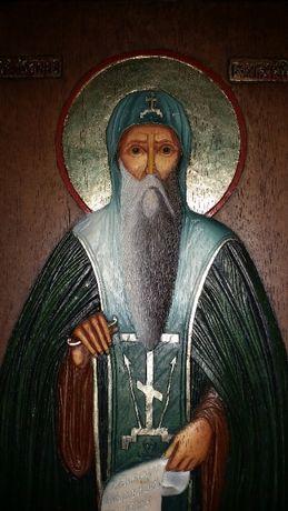 Релефна икона дърворезба на св.Иван Рилски, осветена в Рилски Манастир