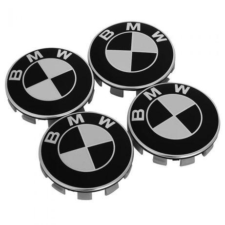 Set 4 Capace 68mm bmw Negru cu alb pentru jante aliaj originale BMW