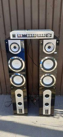 Boxe 175w cu subwoofer incorporat si amplificator karaoke statie
