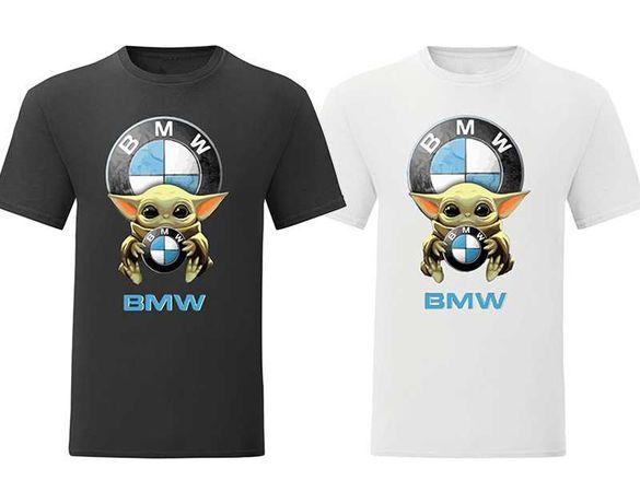 Мъжка и дамска тениска Baby Yoda Hug BMW Mercedes Subaru Pоrsche и др