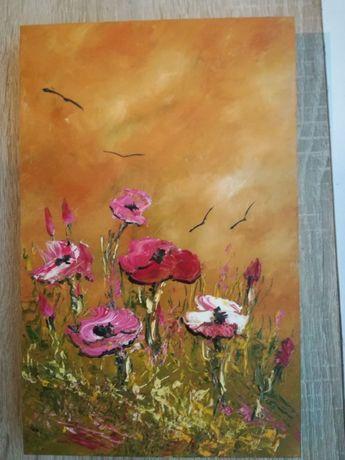 Pictura ulei / lemn, tehnica mixta, camp cu flori