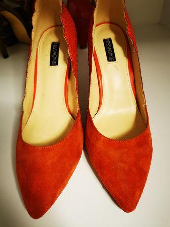 Pantofi piele orange Nissa, marimea 39, toc 10 cm.