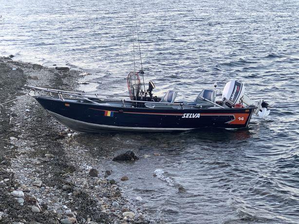 Barca Aluminiu pescuit/agrement + johnson 20/30cp + peridoc no