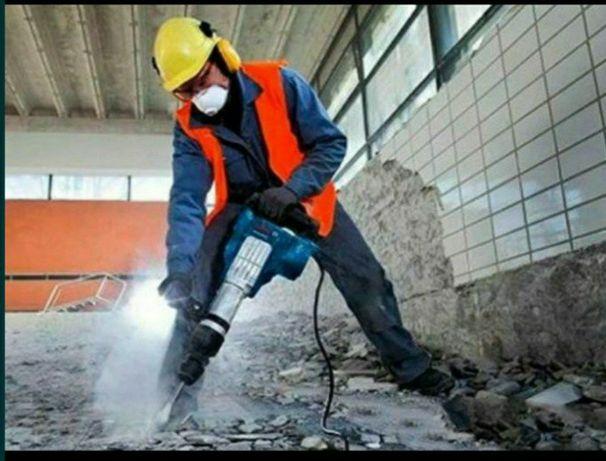 Ломаем бетон,стяшку,стены,кафель. Отбойник молоток перфоратор.Демонтаж