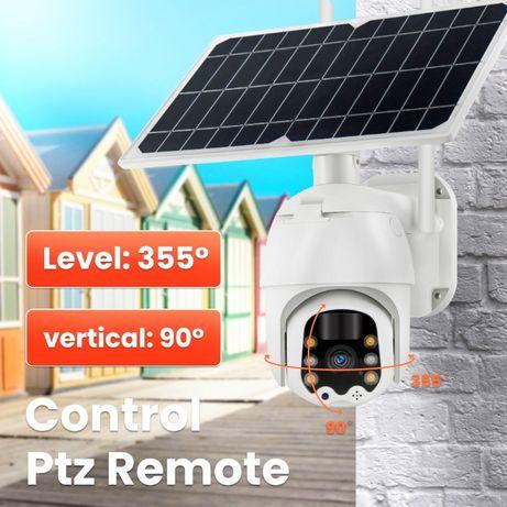 Соларна камера въртяща безжична, ведеонаблюдение, WiFi IP безкабелна