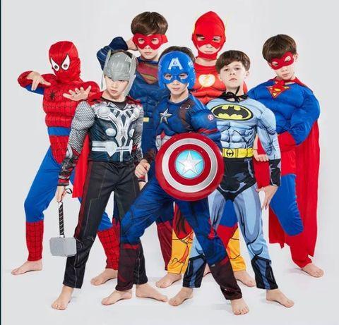 Костюм Спайдърмен с мускули,батман с мускули,супермен ,капитан америка