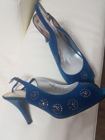Pantofi din catifea albastru