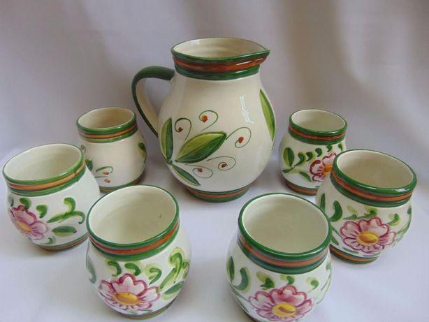 Carafa si 6 pahare ceramica pictata manual