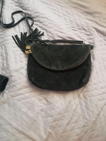 Дамска чанта естествен велур