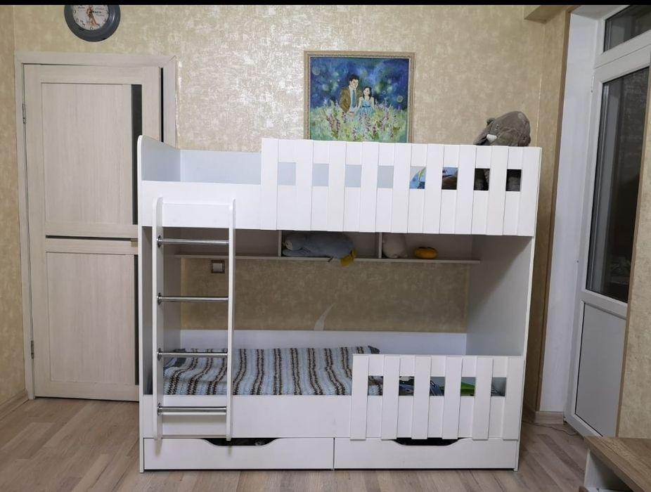 Кровать детская двухъярусная двухярусная новая манеж Алматы - изображение 1