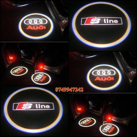 Set 2 proiectoare portiere LED logo emblema AUDI S Line dedicate