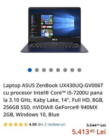 Laptop Asus Zenbook ultraportabil cu amprenta