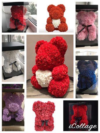 Cadou ideal ursulet urs din trandafiri 100-150 lei 25-40 cm