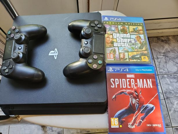 Playstation 4 (ps4) slim 500 gb , 2 controllere, spiderman, gta v