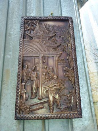 Tablou asiatic sculptat in relief