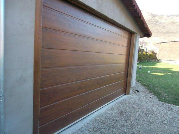 Uși de garaj 3150 * 2765 (LxH) rezidențiale, Nuc, dungi medii