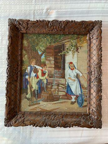 """Goblen cusut manual """"La fantana"""", cu rama de lemn sculptat 59x52cm"""