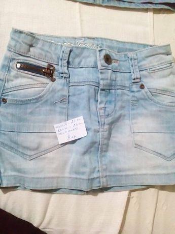 дънкови къси панталони и дънкови поли за момиче - височина 116 - 122