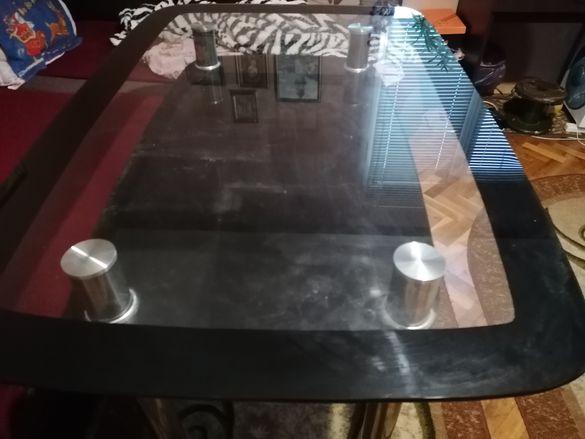 Стъклена трапеза маса с горен и долен плот