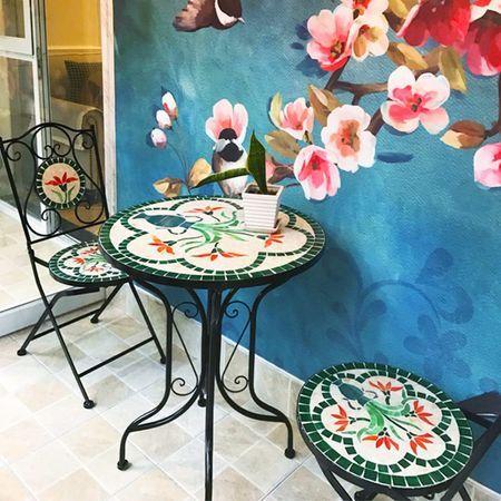 Set 2 scaune si masa din mozaic cu cadru de fier, ceramica, interior/e