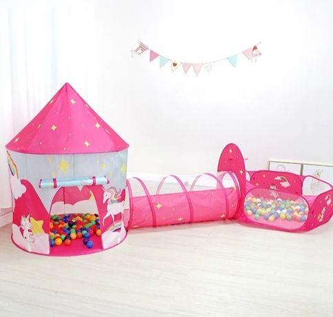 Детский домик 3 в 1 детская палатка детский шатер сухой бассейн туннел