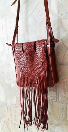 geanta / poseta de piele artizanala Maroc noua