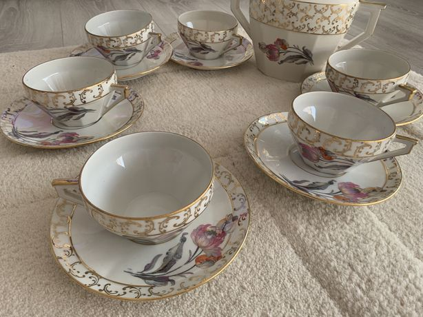 Serviciu cafea/ceai cesti portelan Francez Vintage aurit, NOU