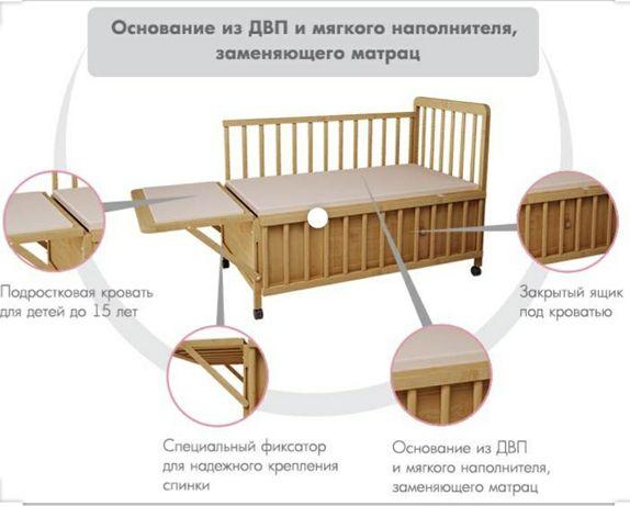 Детская кроватка трансформер с ящиками