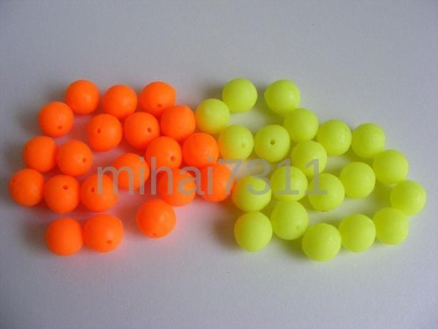 Set 40 Pop -upuri silicon moale de 8mm Fluo si Orange