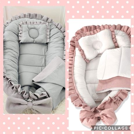 Cuib/baby nest cu volănase, pernuță si păturica! Transportul inclus!!