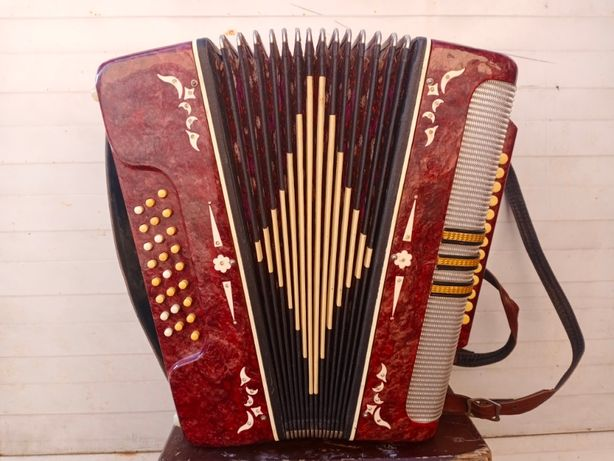 Винтаж аккордеон, музыкальный инструмент с футляром, СССР, Беларусь.