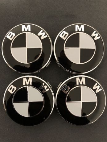 Set Capace roti jante aliaj BMW Alb/negru E46 E90 E60 X3 X5 X6
