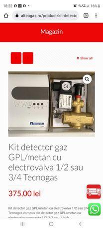 Kit detector gaz GPL/metan cu electrovalva 1/2 sau 3/4 Tecnogas