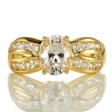 GR54,inel placat aur 18k,model superb, ideal logodna,zirconiu alb/rosu