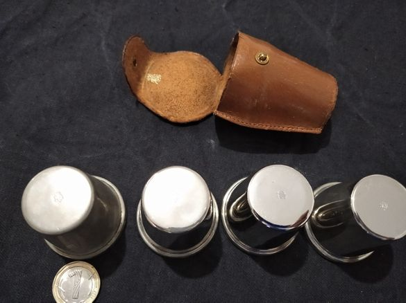 Винтидж стари посребрени малки чашки/шотчета за алкохол Англия