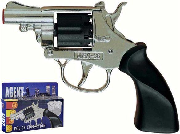 Детски метален револвер Villa Giocattoli 1580 Agent с капси пистолет