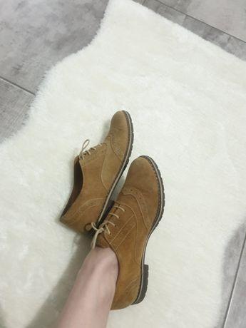 Pantofi oxford 37 bej piele naturala intoarsa interior exterior