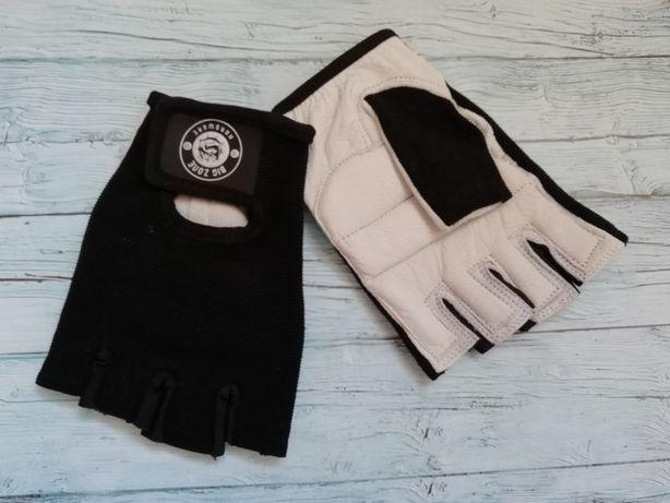 РАСПРОДАЖА Перчатки кожаные «Big Zone» (сверху черные, ладонь белая)