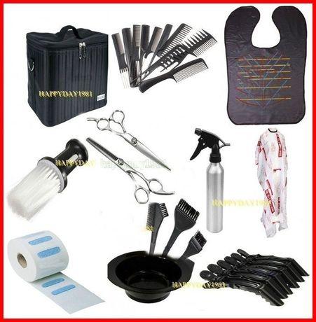 Kit frizerie coafor practica set foarfeca tuns+filat geanta transport