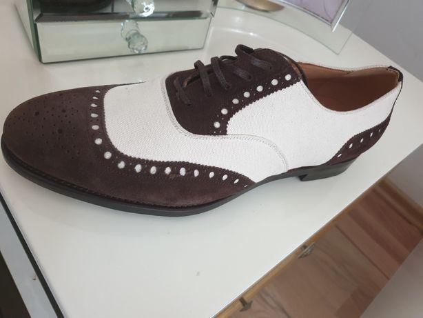 Pantofi piele si textil italieni - hand made