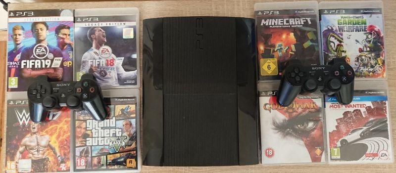 < PS3 500GB > Хакнат PlayStation 3 Super Slim с 2 джойстика гр. Казанлък - image 1