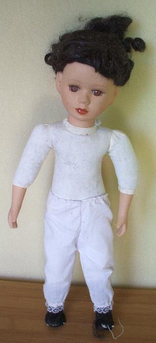 Papusa - cap, mainile, picioare din portelan - 40 cm Santana - imagine 1