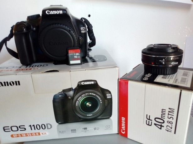 DSLR Canon 1100D+Obiectiv Canon 40mm+Kit complet+Card de memorie 16GB