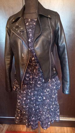 Кожаная куртка и платье