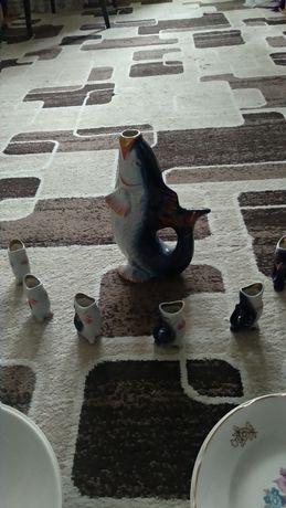 Продам набор для коньяка, рыбки синие.