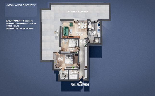 Apartament 3 camere si CURTE generoasa MOARA DE VANT IASI