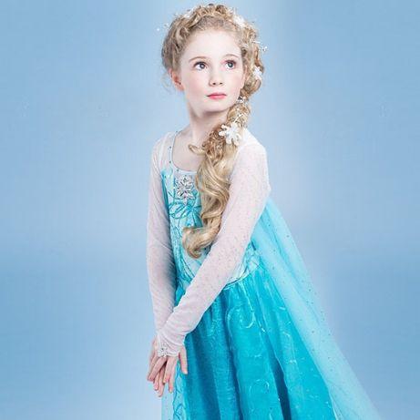 Rochie/rochita costum Elsa Frozen model 2019 cu trena lunga petreceri