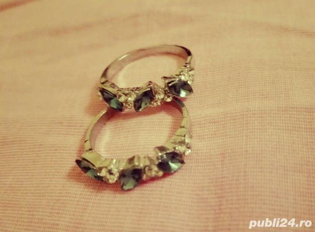 Inele gold/silver cu pietricele verzi