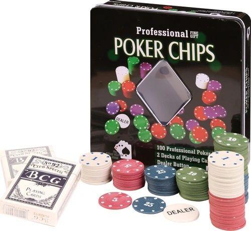 Набор для покера с номиналом 100шт. Poker professional.Покерный набор
