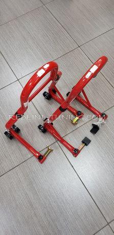 Комплект стойки за мотоциклет-предна и задна с 3 вида накрайници